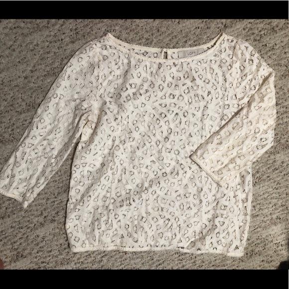 LOFT Tops - Loft patterned cream-colored 3/4 long sleeve
